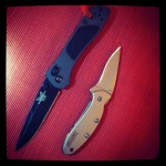 Jon's Benchmade 750 and my Kershaw Scallion.